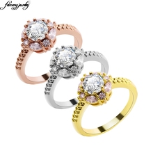 2017 Luxury Fine Jewelry silver Flower-Shaped Ring Rose Gold Filled Jewelry Vintage Wedding Rings Flower Style for Women Gift