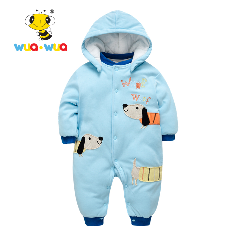 Baby boy girl Rompers Clothes baby clothing Hooded Winter Cotton Newborn Clothes jumpsuit full Sleeve dog print Wua wua WT17155 cotton baby rompers set newborn clothes baby clothing boys girls cartoon jumpsuits long sleeve overalls coveralls autumn winter