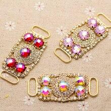 6.3*2 см небольшой красочный Rhinestone Аппликация Золотая База ремень аппликация пришить со стразами для вечеринки свадебное платье украшения