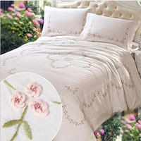 100% Cotton Hand embroidered 4 pcs Bedding Sets Export Quality White pink green coffee Wedding Bedding Sets