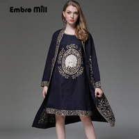 Women suit set royal embroidery vest dress + loose cotton floral open stitch coat 2 pieces elegant lady suit female M XXXL