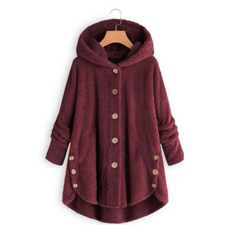 2019 Winter New Fashion Women Fleece Sweater Europe American Button Warm Hooded Sweaters Irregular Solid Color Coat 10 Colors(China)