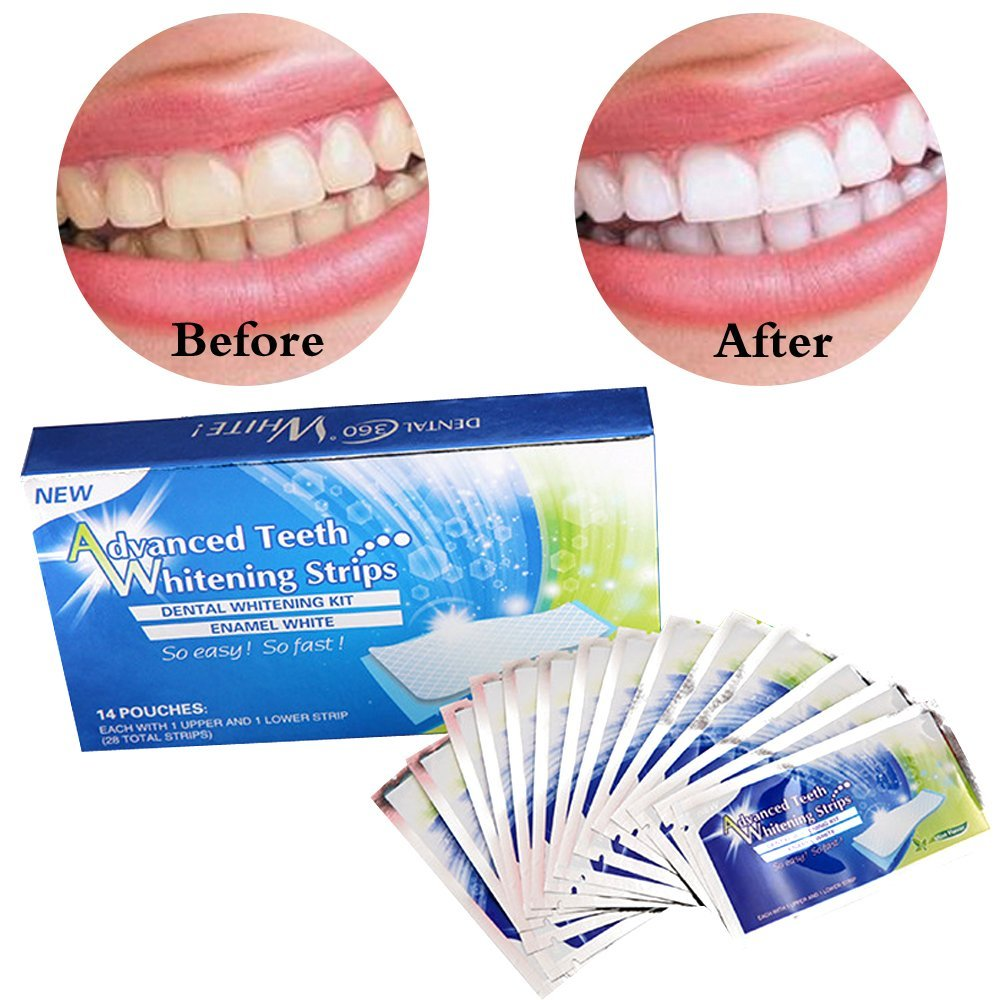 14Pair Teeth Whitening Strips 3D Whitening Shine Teeth Advanced Double Elastic Gel Cleaning for Teeth Care Dental Bleaching Tool