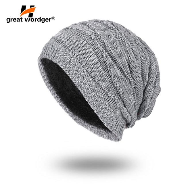 544ff83748a Winter Windproof Warm Hiking Caps Men Wool Thermal Fleece Knitted Beanies  Ski Bike Motorcycle Warmer Helmet Hat