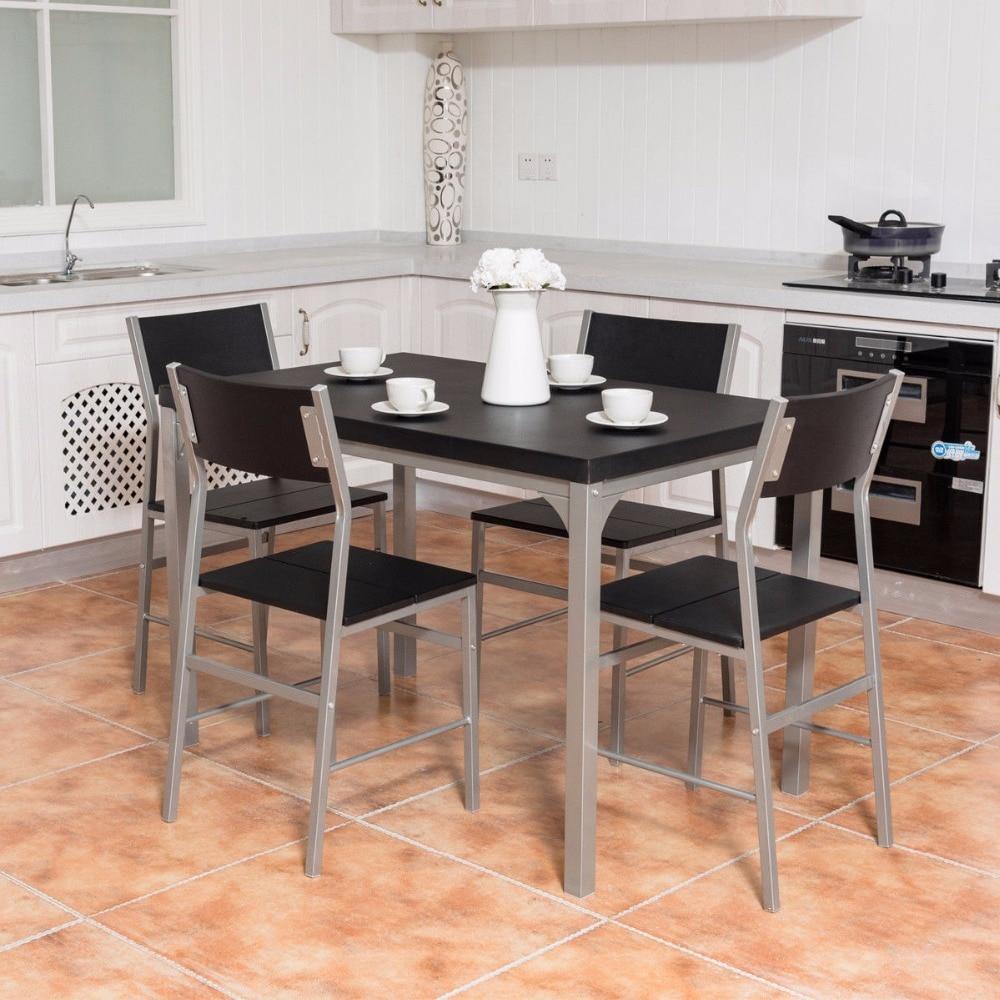 Giantex 5 piece dining set table u0026 4 chairs wood metal kitchen breakfast furniture black living room set hw54323 & Giantex 5 piece dining set table u0026 4 chairs wood metal kitchen ...