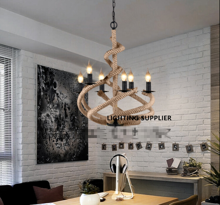 Loft américain rétro industriel créatif en fer forgé lampe Restaurant café bar salon outillage chanvre corde lustre
