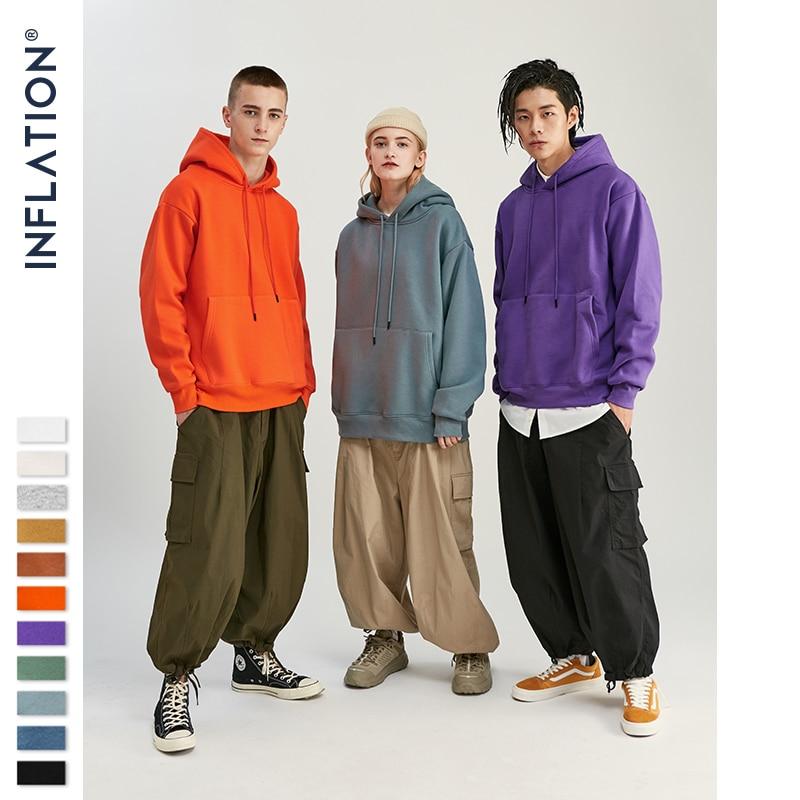 INFLATION 2019 AW Mens Hoodies Thick Fleece Hoodies Hip Hop 11 Colors Pure Hoodies Thick Velvet Fabrics Winter Men Hoodies167W17