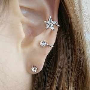 2019 Fashion Original Design Sweet Unique Five-pointed Star Brincos oorbellen Ear Clip Crystal Stud Earrings For Women Jewelry
