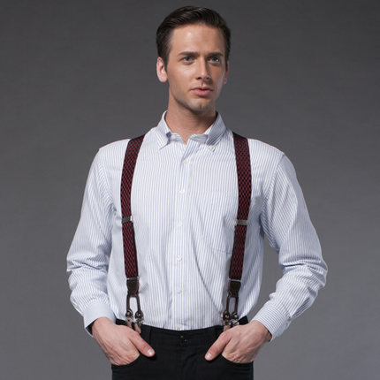 b067cb341c Strong four harness Clips Leather Suspenders for Men Vintage Fashion Casual  Suspenders Commercial Western-style Man s Braces
