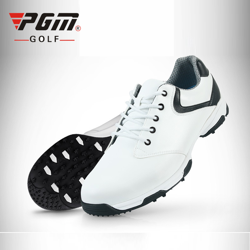 PGM Genuine Leather Golf Shoes For Men Brand Professional Golf Shoes Waterproof Anti Skid Sneakers Grass Sports Footwear sHOES pgm genuine golf shoes men s double patent golf shoes high performance anti collision exoskeleton anti skid soles
