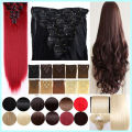 Full Head Clip On Hair Extension 66cm 26inch 8pcs/set Natural Hairpieces Hair Piece Straight Synthetic Clip In Hair Extensions