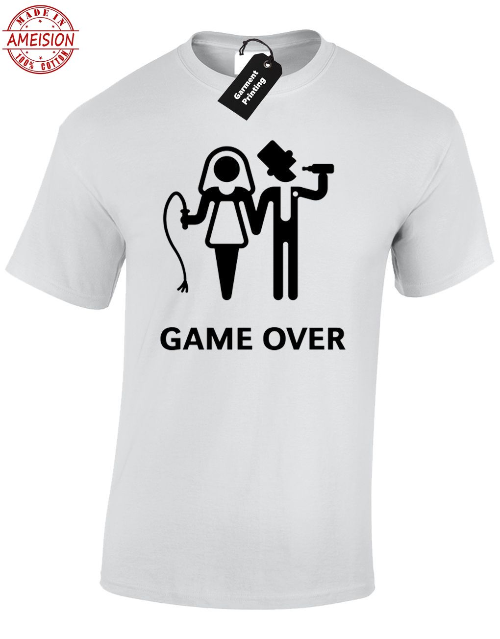 GAME OVER MENS T SHIRT FUNNY WEDDING BRIDE GROOM DESIGN GIFT PRESENT JOKE HUMOUR in T Shirts from Men 39 s Clothing