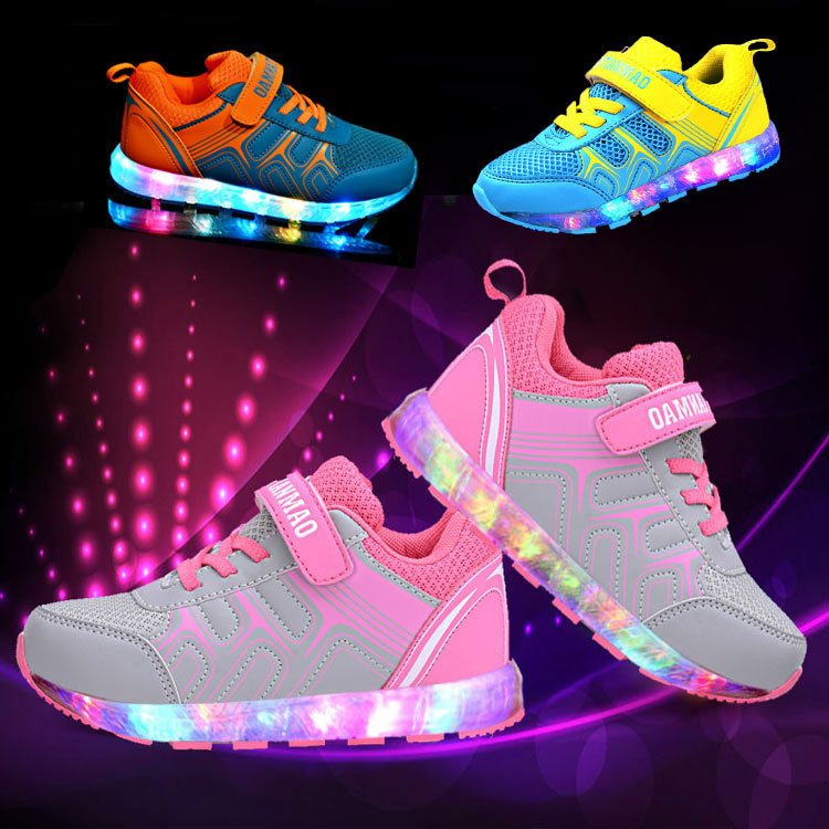 Fashion Kids Shoes Lights Girls Led USB Recharge Glowing Shoes Children's Boys Hook Loop Shoes Led Luminous Sneakes Size 25-37