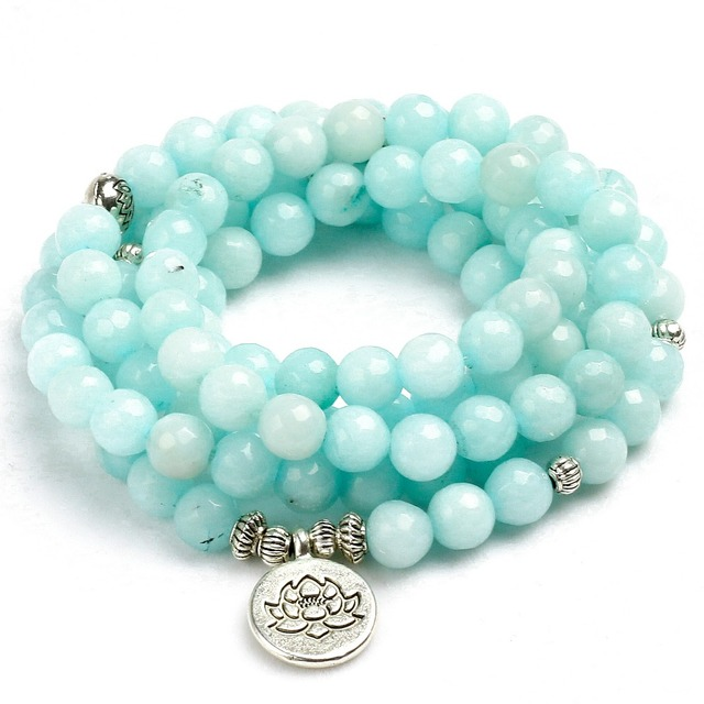 8mm Faced Natural Blue Chalcedony 108 Mala Beads Bracelet Buddhist Om Charm Bracelet For Women Handmade Men Bangle Jewelry Gift