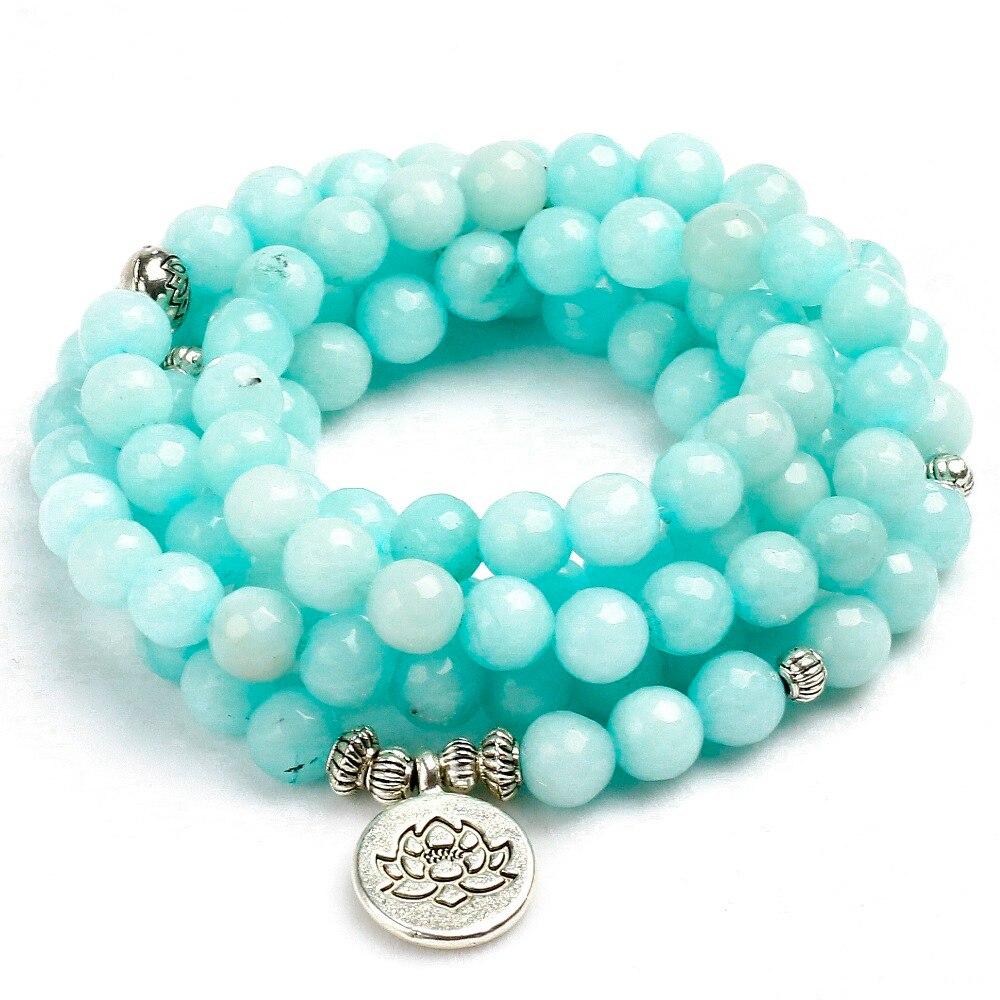 8mm Konfrontiert Natürlichen Blauen Chalcedon 108 Mala Perlen Armband Buddhistischen Om Charme Armband Für Frauen Handgemachten Männer Armreif Schmuck geschenk