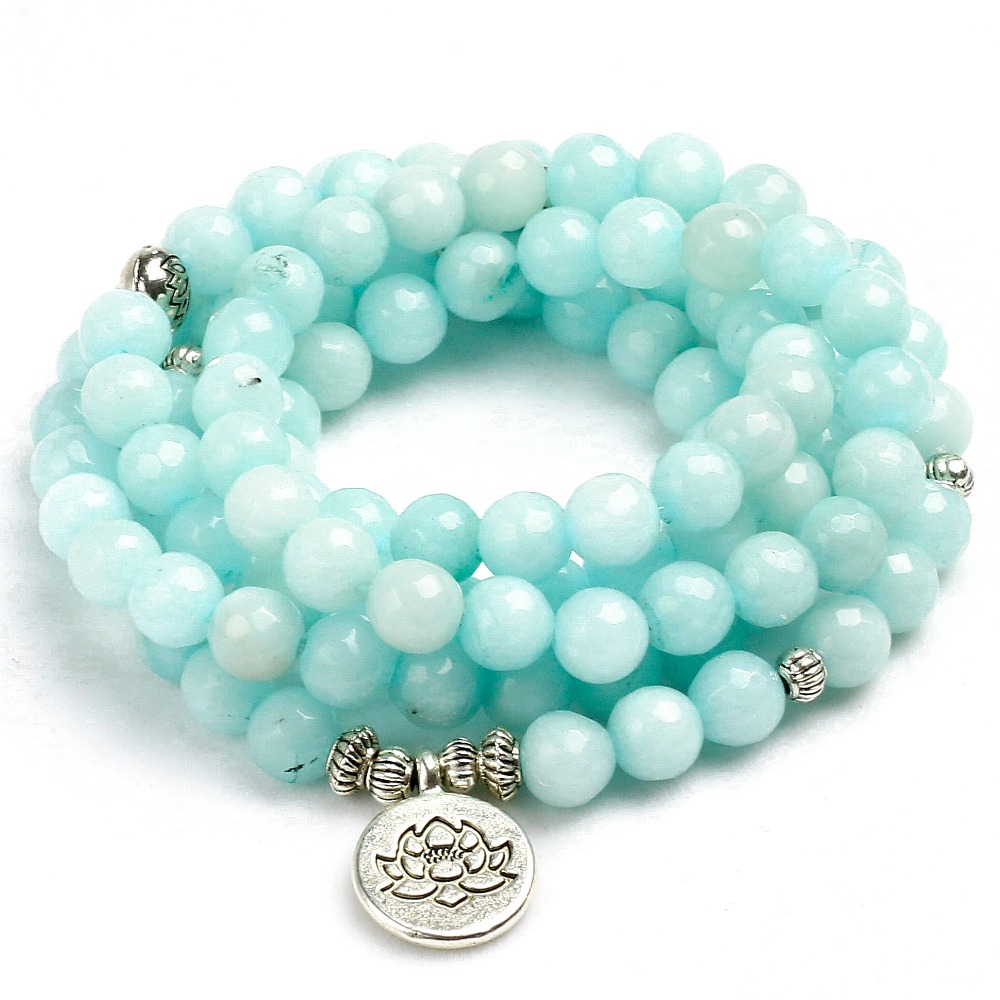 Erfinderisch 8mm Konfrontiert Natürlichen Blauen Chalcedon 108 Mala Perlen Armband Buddhistischen Om Charme Armband Für Frauen Handgemachten Männer Armreif Schmuck Geschenk Armbänder & Armreifen