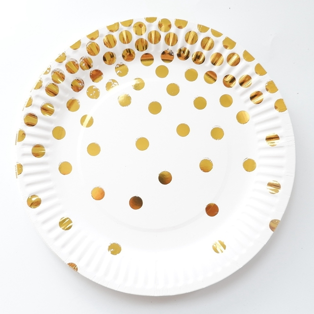 10 Pcs 7inch Foil Gold Dot Birthday Wedding Party Supplies Decoration Cake Dish Disposable Paper Plates