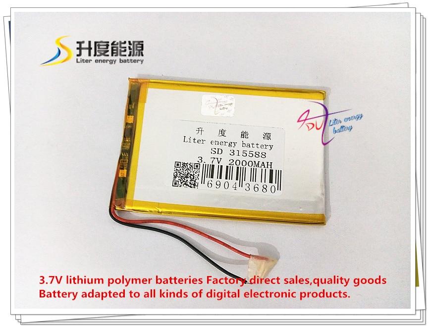 3,7 V 2000 Mah 315588 Polymer Lithium-ion/li-ion Batterie Für Tablet Pc Power Bank Handy Lautsprecher E-book SorgfäLtige FäRbeprozesse Tablet-zubehör
