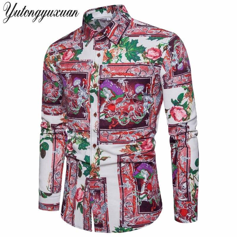 2018 Весна Для мужчин рубашка цветочные рубашки с длинным рукавом Для мужчин одежда с цветочным принтом Рубашки Винтаж льняную Повседневное ...