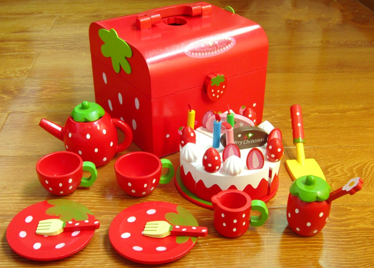 Baby Toys Red Pretend Play Cake Set Kids Play Food Set Wooden Play House Kitchen Toys Girl Xmas/Birthday gift 6pcs set movie trolls 4 3inch height figures toys cake topper kids birthday gift children funny toys