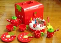 Bebé Juegos de imaginación Juguetes Rojo Pastel Conjunto de Juegos Para Niños Conjunto De Madera Casa del Juego de Cocina de Alimentos Juguetes Chica de Navidad/Cumpleaños regalo