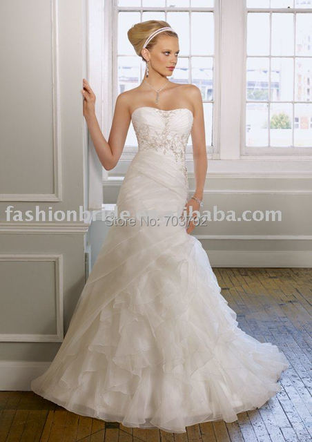 Strapless A-line Appliqued Floor Length White Organza bridal gown