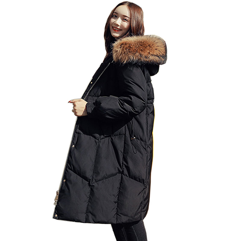 2018 fashion brand real White duck   down   warm thicker parkas   coat   female with fur hooded plus size thicker   down     coat   long jacket