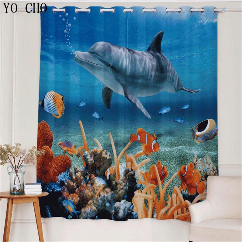 YO CHO nouveau produit cortinas occultant Animal dauphin rideau voilage poisson rouge kinder gordijnen slaapkamer rideaux pour chambre d'enfants