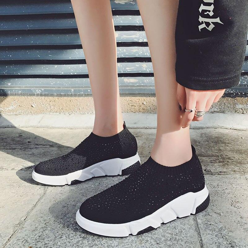 Gogoruns Women Breathable Rhinestone Running Shoes Sock Style Sponge Gym Jogging Training Shoes Ladies Running Sneakers Women A Great Variety Of Models Underwear & Sleepwears