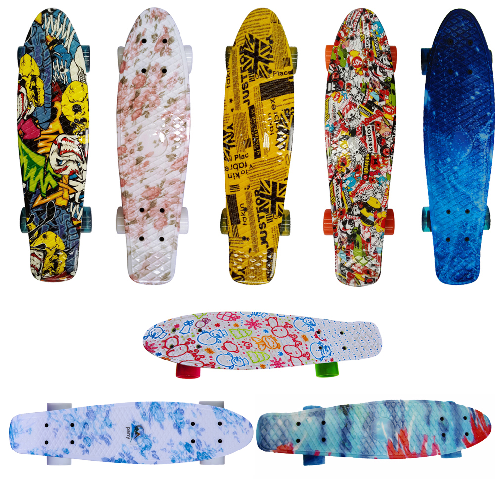 22 Inches Four-Wheel Penny Style Retro Skateboards Board Mini Cruiser Skateboard Complete With 8 Colors For Adult Children explore penny board 28
