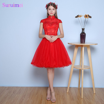Vestidos De Festa Curto Para Formatura Round Neck Red Short Prom Dresses High Quality Tulle Vintage Key Hole Short Prom Gown