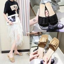 Cremulen 2019 Summer Slippers Women Sandals Med Square heel Shoes Metallic Fashion Slides Woman