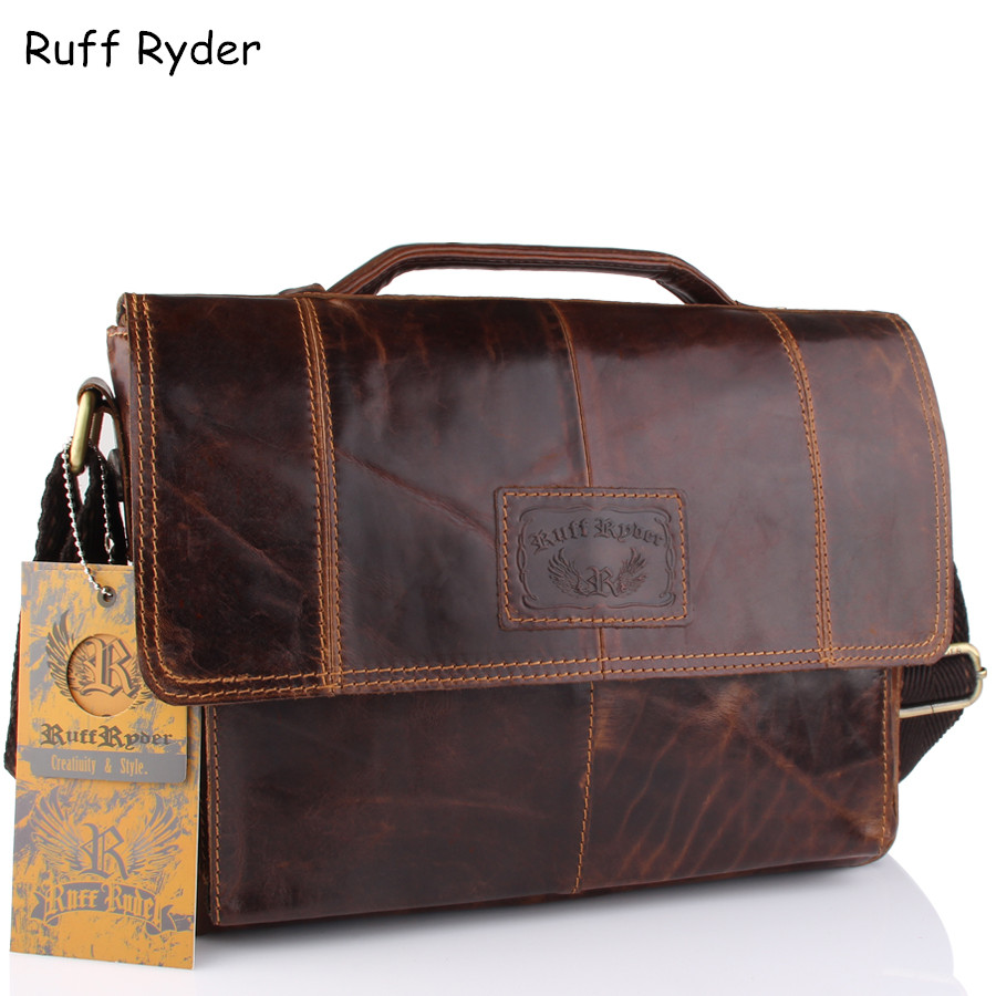 Ruff Ryder New Vintage Men Genuine Oil Wax Leather Business bags Laptop Tote Briefcases Crossbody bag Handbag Men's Shoulder Bag 2015 new vintage oil wax genuine leather men handbag leisure out door travel hiking camp sport gym laptop shoulder bags