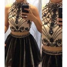 2016 schwarz Sexy Zwei Stücke Junioren Short Prom Cocktailparty-kleider Knielangen Crystals Sparkly Perlen Tüll Cocktailkleider