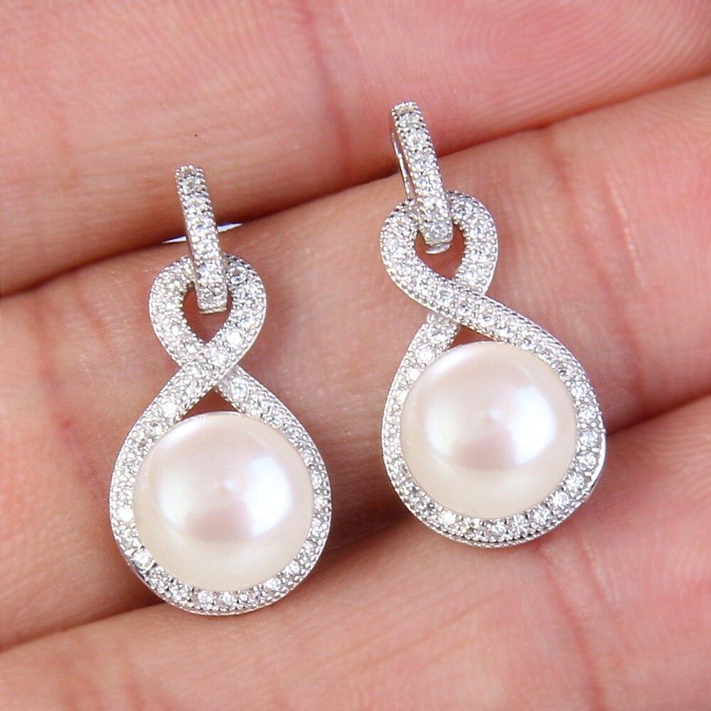 Bella Fashion 925 Sterling Silver Infinity Bridal Earrings Cubic Zircon Freshwater Cultured Pearl 9M Earrings For Wedding Gift