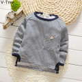 Boys Padded Hoodies Baby Kids Striped Sweater Boy Plus Velet T Shirt Toddler Winter Warm Fleece TShirt Children Sweatshirt Cloth