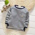 Meninos Hoodies algodão Acolchoado Bebê Crianças Listrado Menino Camisola Além Disso Velet T Shirt Da Criança Inverno Quente Fleece TShirt Crianças Camisola Pano