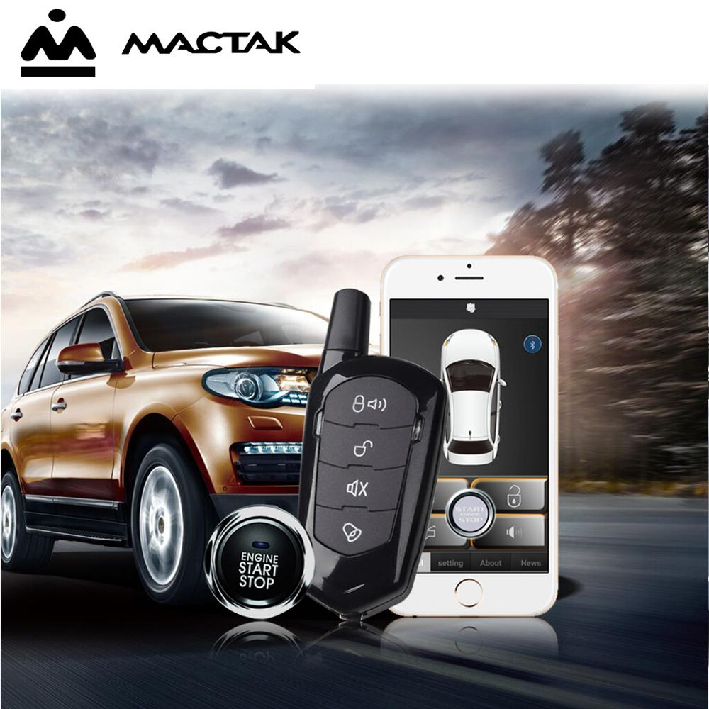 MACTAK SmartPhone Control PKE Car Alarm System Kit Smart Passive Auto Central Locking Car Door Keyless Push Remote Button in Burglar Alarm from Automobiles Motorcycles