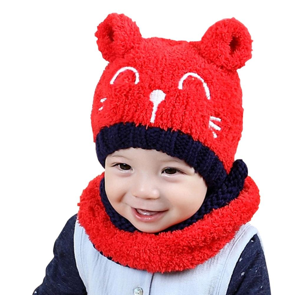 2pcs Set Children Kids Hat Scarf Neckerchief Warm Cat Fashion Cute For Winter FDC99