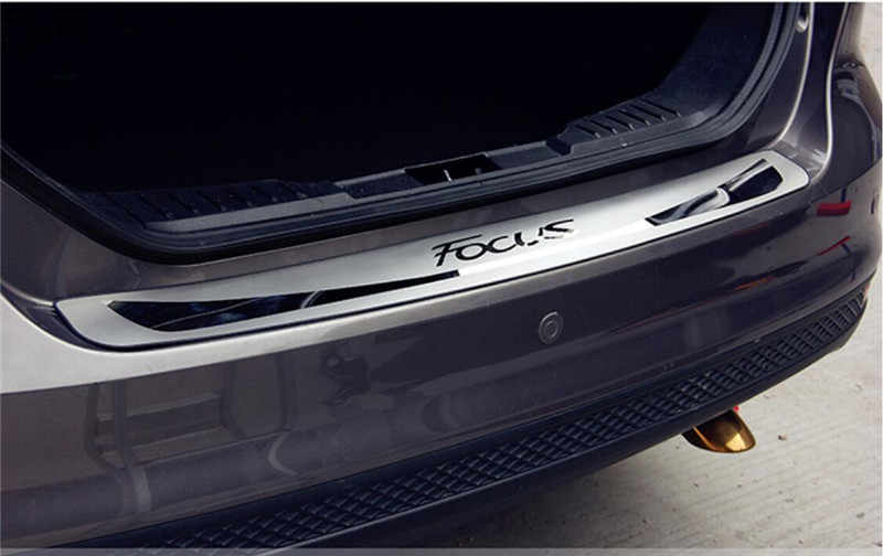 ASDDD Stainless Steel Car Rear Guard Bumper Protector Trim Cover Stickers Trunk Kick Plates Tread Plate Sill For Ford Focus Mk3 2012-2014 Car Styling Accessories