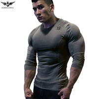 KORKSLORES New 2017 Fitness Men Sets Camouflage Compression Shirts Leggings Base Layer Crossfit Brand Long Sleeve