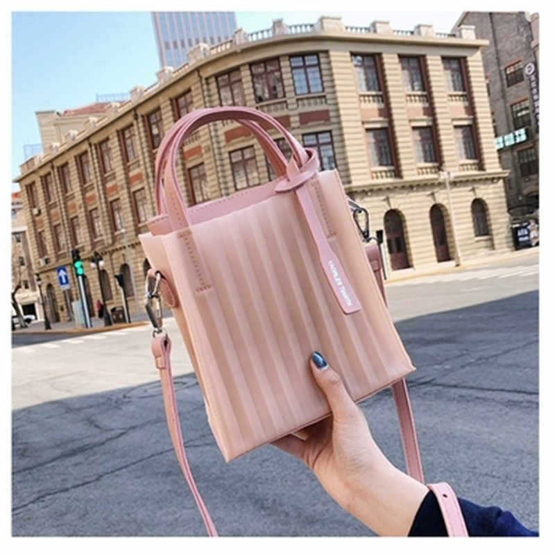 Mike bear Clear Transparent Handbag Beach Plastic Handbag Fashion Women Popular Candy Color Tote Tote Shoulder Bags