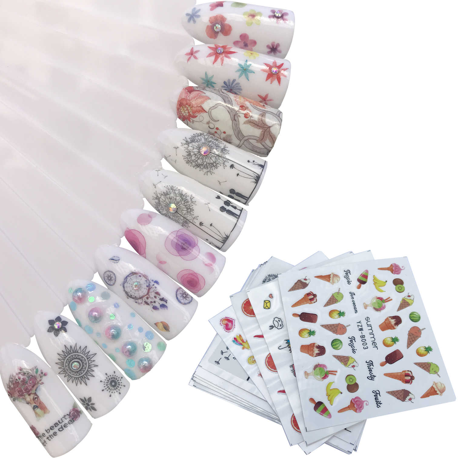 YZWLE 1 Sheet Dandelion Flower Strawberry Nail Decals for Watermark Manicure Polish Nail Sticker 10 Styles for Choose