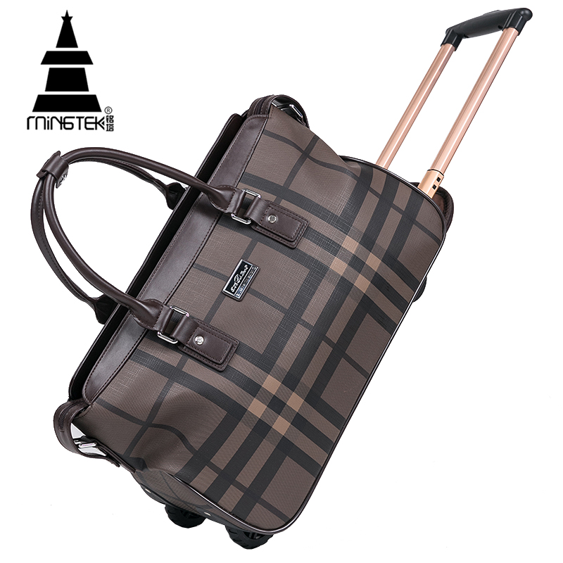 Waterproof PU Duffle Bag Trolley Hand Luggage Fashion Plaid 20 Inch Rolling Travel Bag Luggage On Wheels Women Weekend Tote Bags trolley travel bag hand luggage rolling duffle bags waterproof oxford suitcase wheels carry on luggage unisex small size