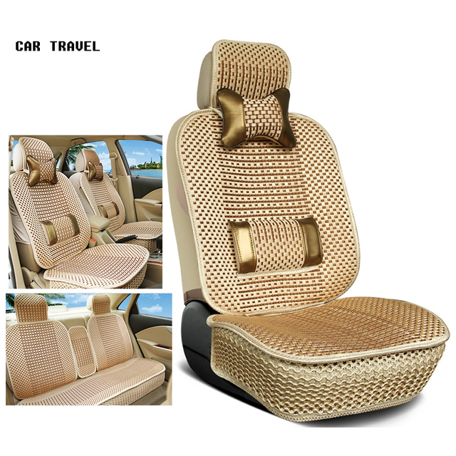 Luxury Car Seat Cushion Hand Woven Ice Silk With Wood Beads Cover Summer