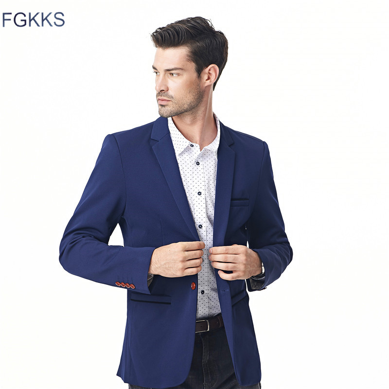 FGKKS New Autumn Men's Blazers Men Fashion Thin Jacket Linen And Cotton Coats Male Blazers Brand Clothing
