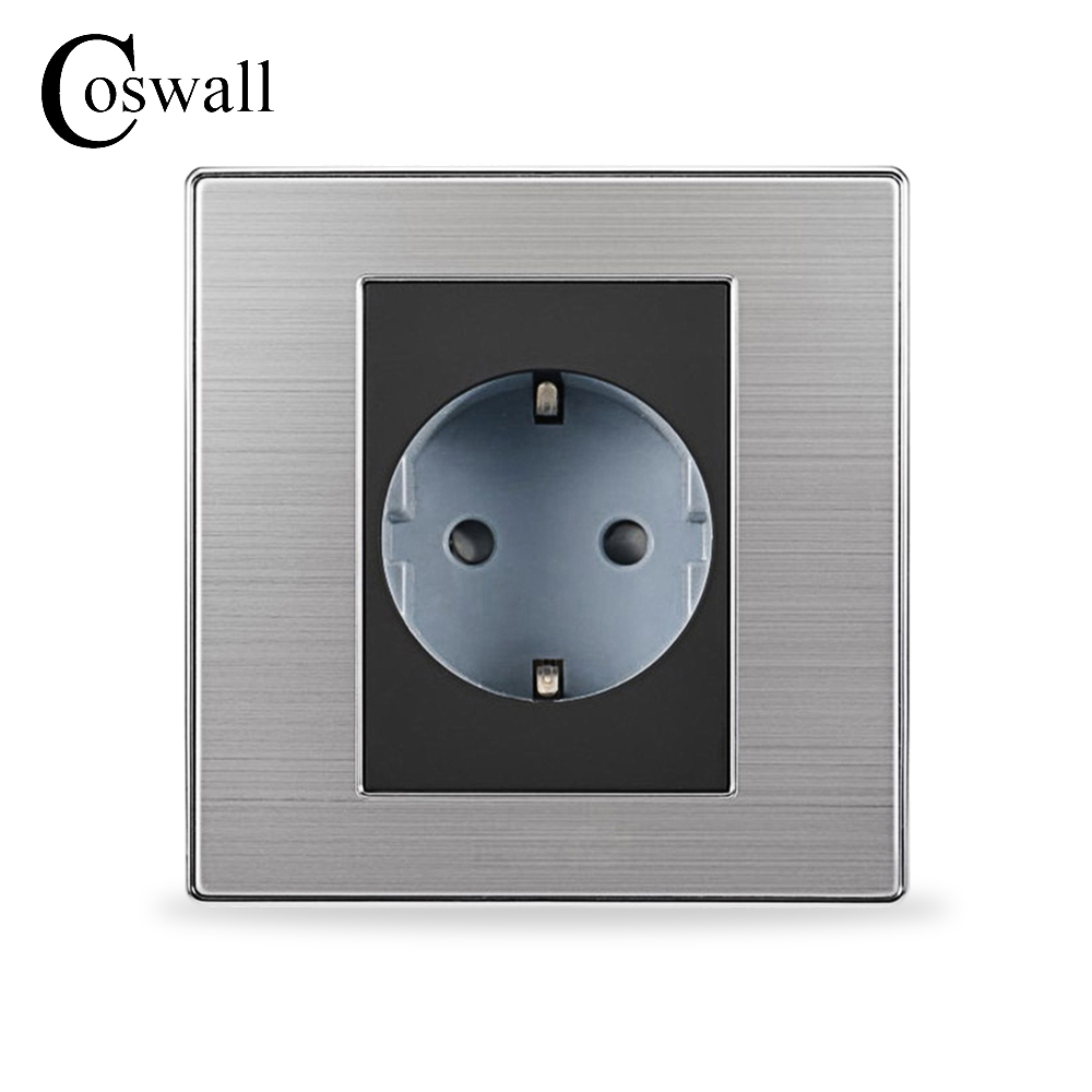 Coswall 16A EU Standard Wall Socket Luxury Power Outlet Enchufe Brushed Silver Panel Electrical Plug Soquete AC 110~250V ls601 silver multifuction outlet power