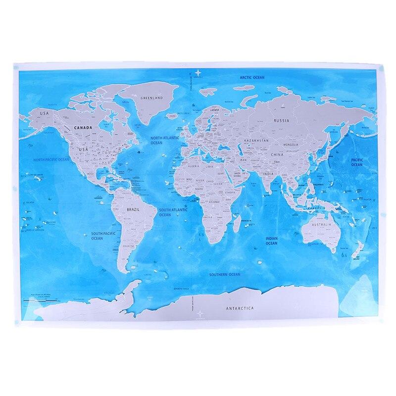 Deluxe Scratch Édition Carte du monde Voyage Monde AFFICHE Carte Océans BRICOLAGE enfants