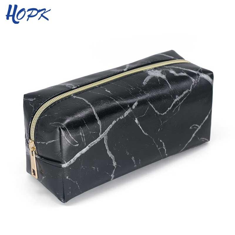 Black Marble Pencil Case For Girls Boys Pencilcase Makeup Storage Supplies Big Cosmetic Bag Leather Pencil Box School Tools