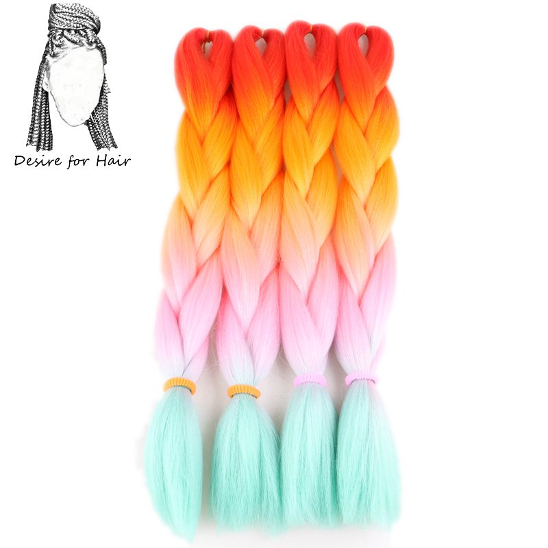 Desire for hair 10packs per lot 24inch 100g heat resistant synthetic ombre jumbo braiding box hair red orange pink green